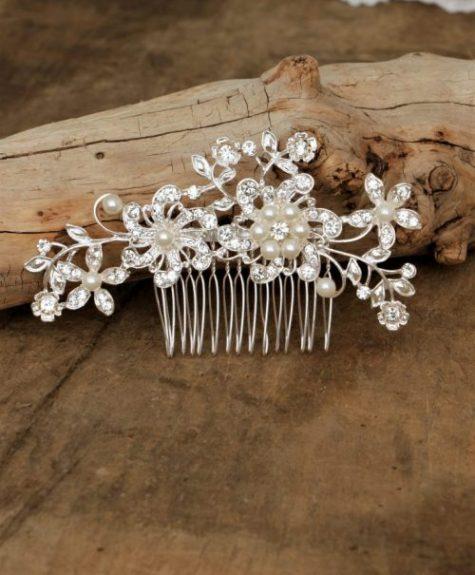 Haarkam Silver Flower